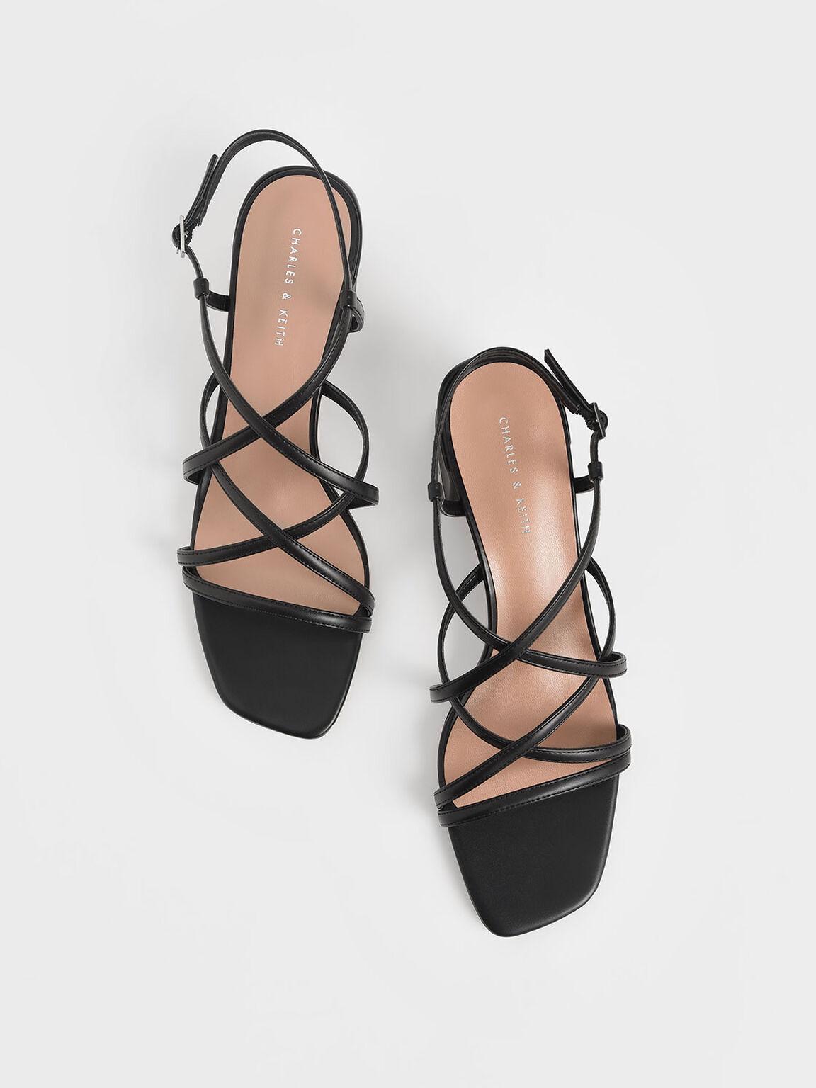交叉帶粗跟涼鞋, 黑色, hi-res