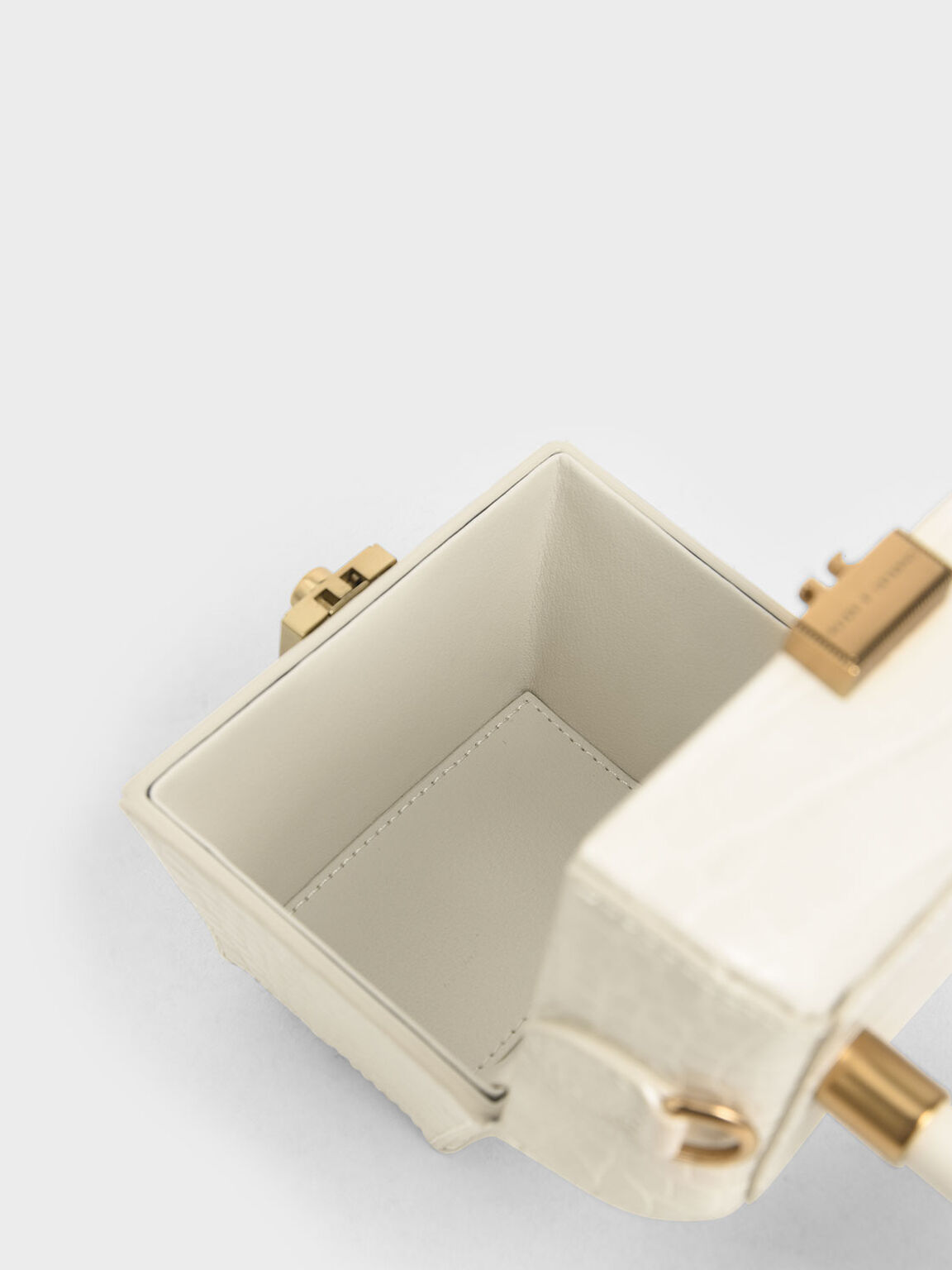 Croc-Effect Mini Sculptural Bag, Cream, hi-res