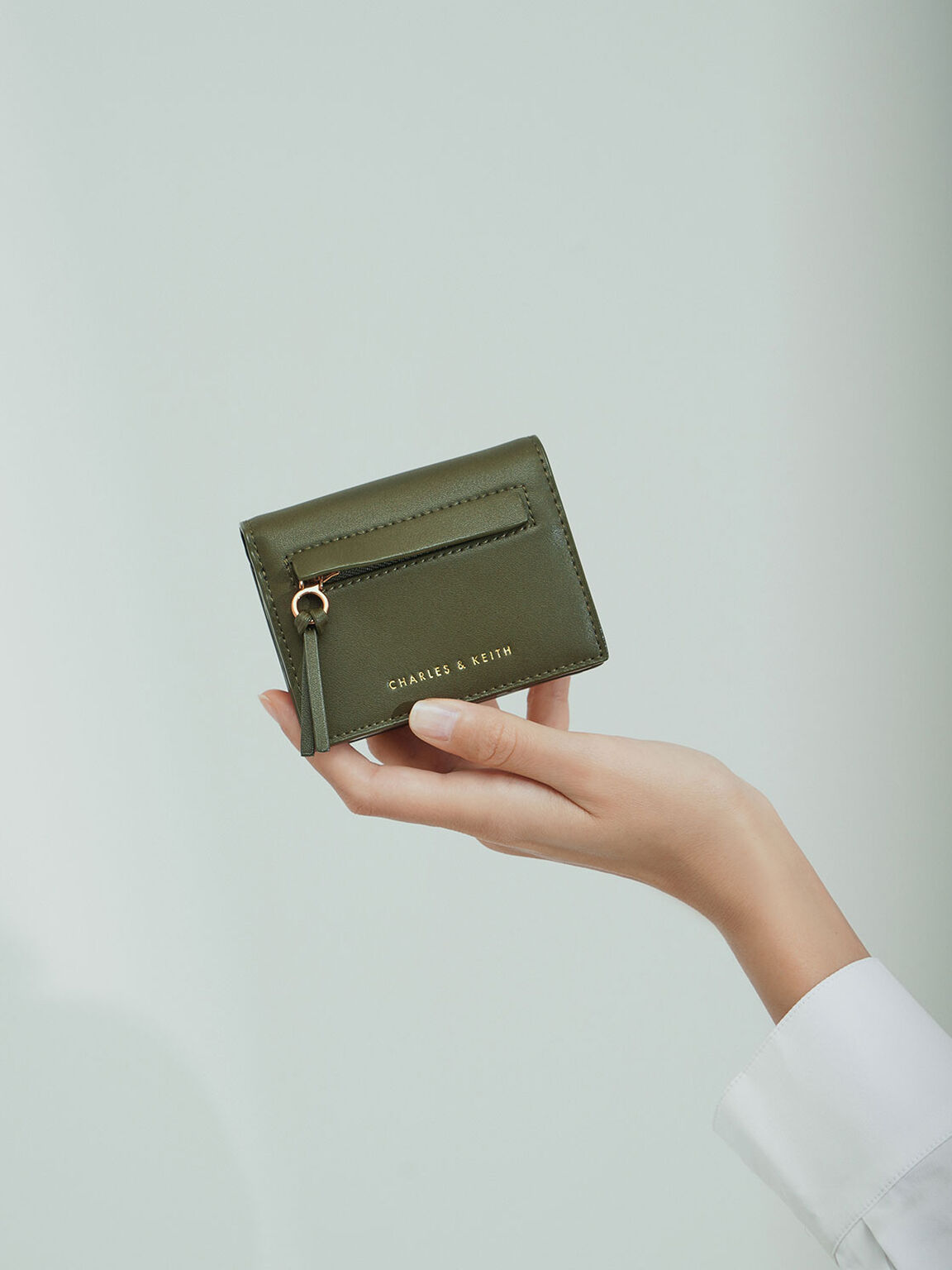 Snap Button Card Holder, Olive, hi-res