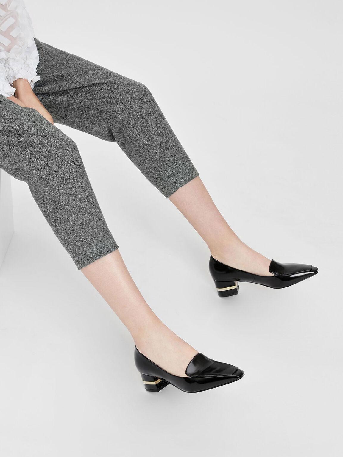 Metallic Accent Heel Loafers, Black, hi-res