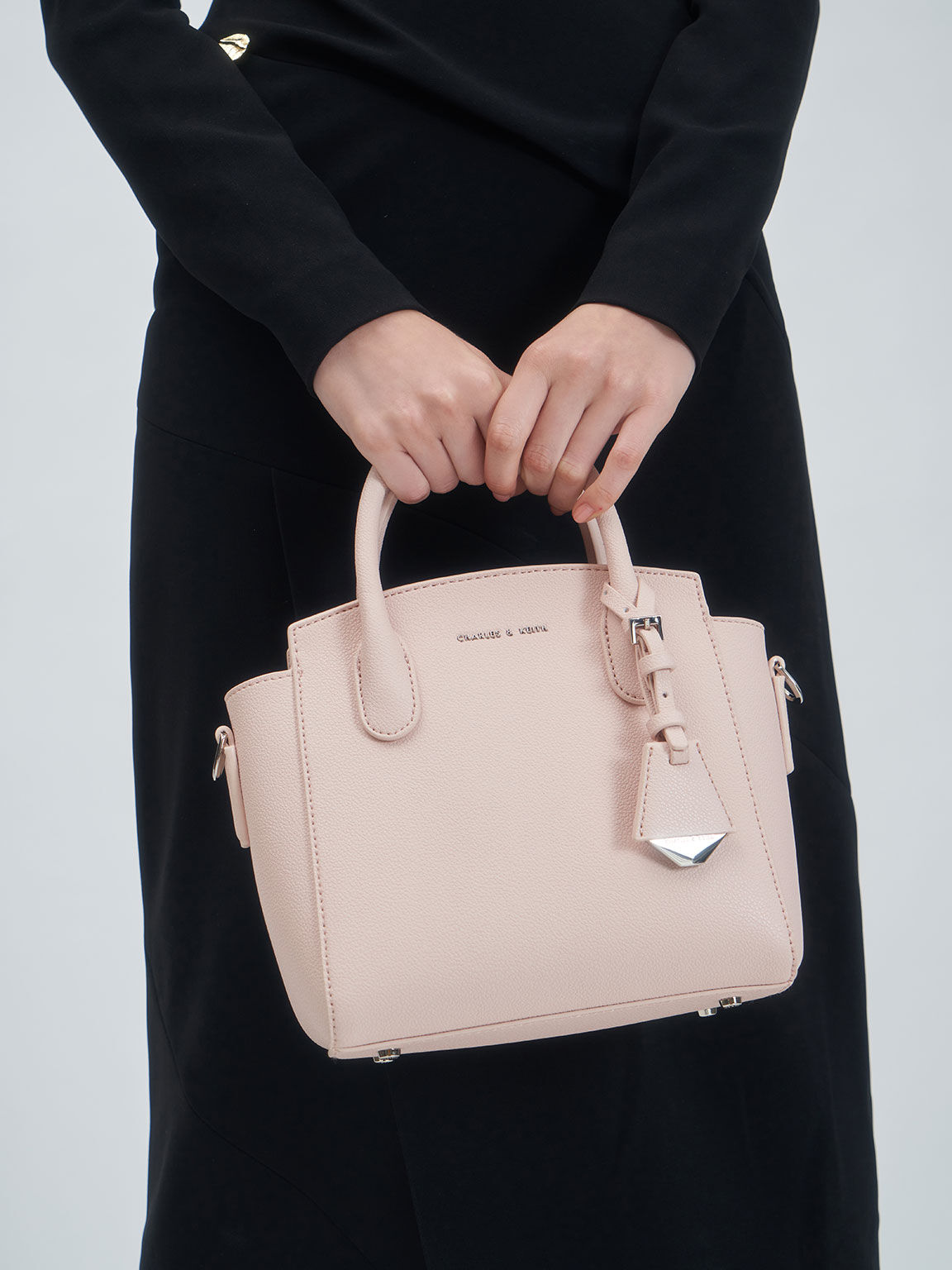 Double Handle Trapeze Tote, Light Pink, hi-res