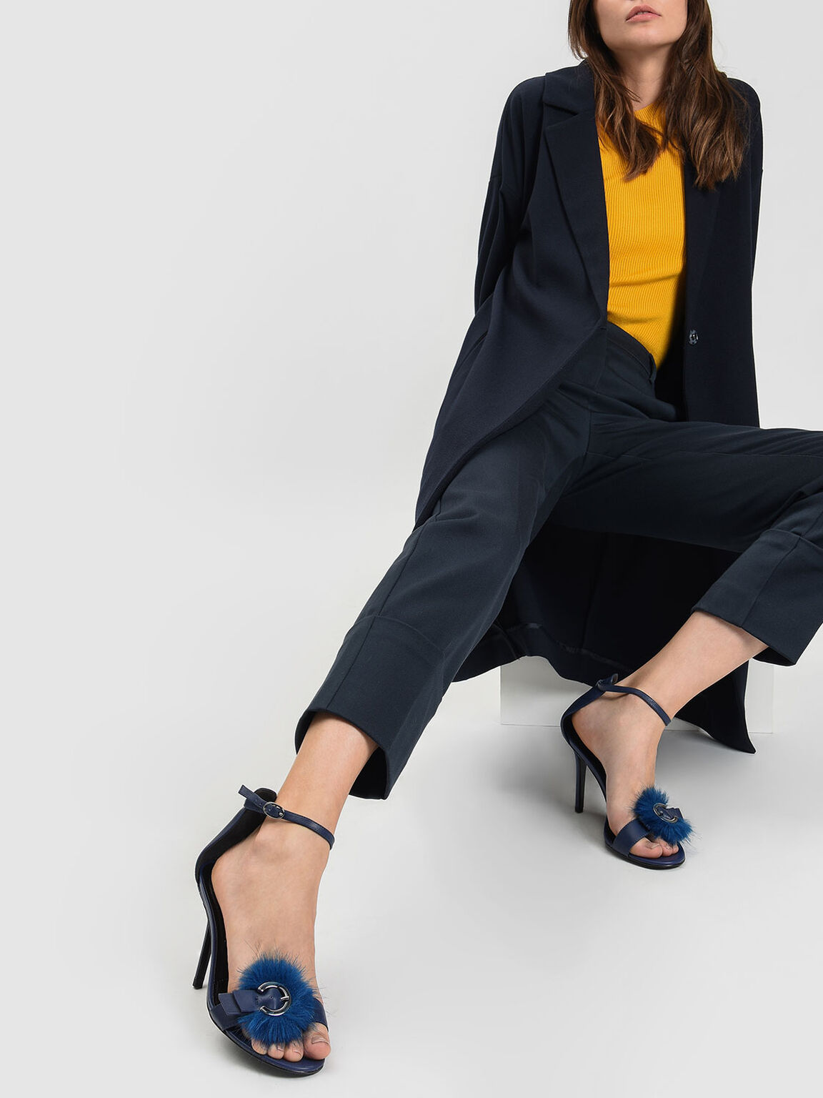 Furry Buckle Leather Heeled Sandals, Dark Blue, hi-res