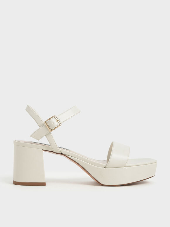 Ankle Strap Platform Sandals, Chalk, hi-res