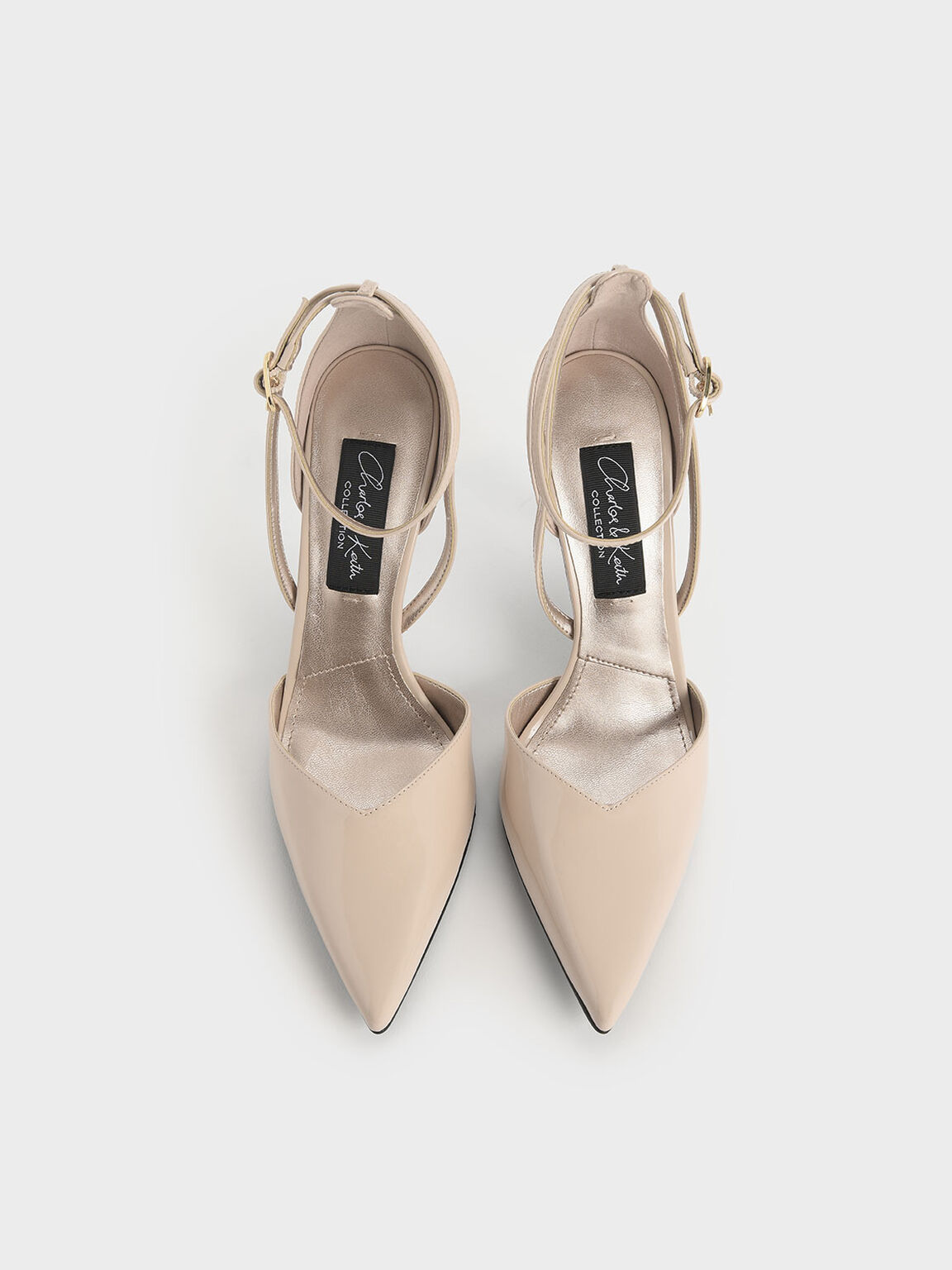 V-Cut Patent Leather Ankle Strap Heels, Nude, hi-res