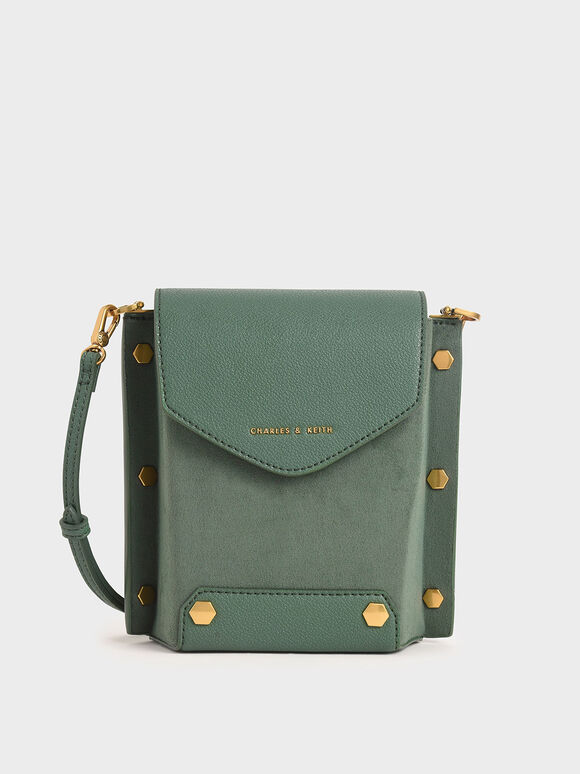 Studded Textured Bag, Green, hi-res