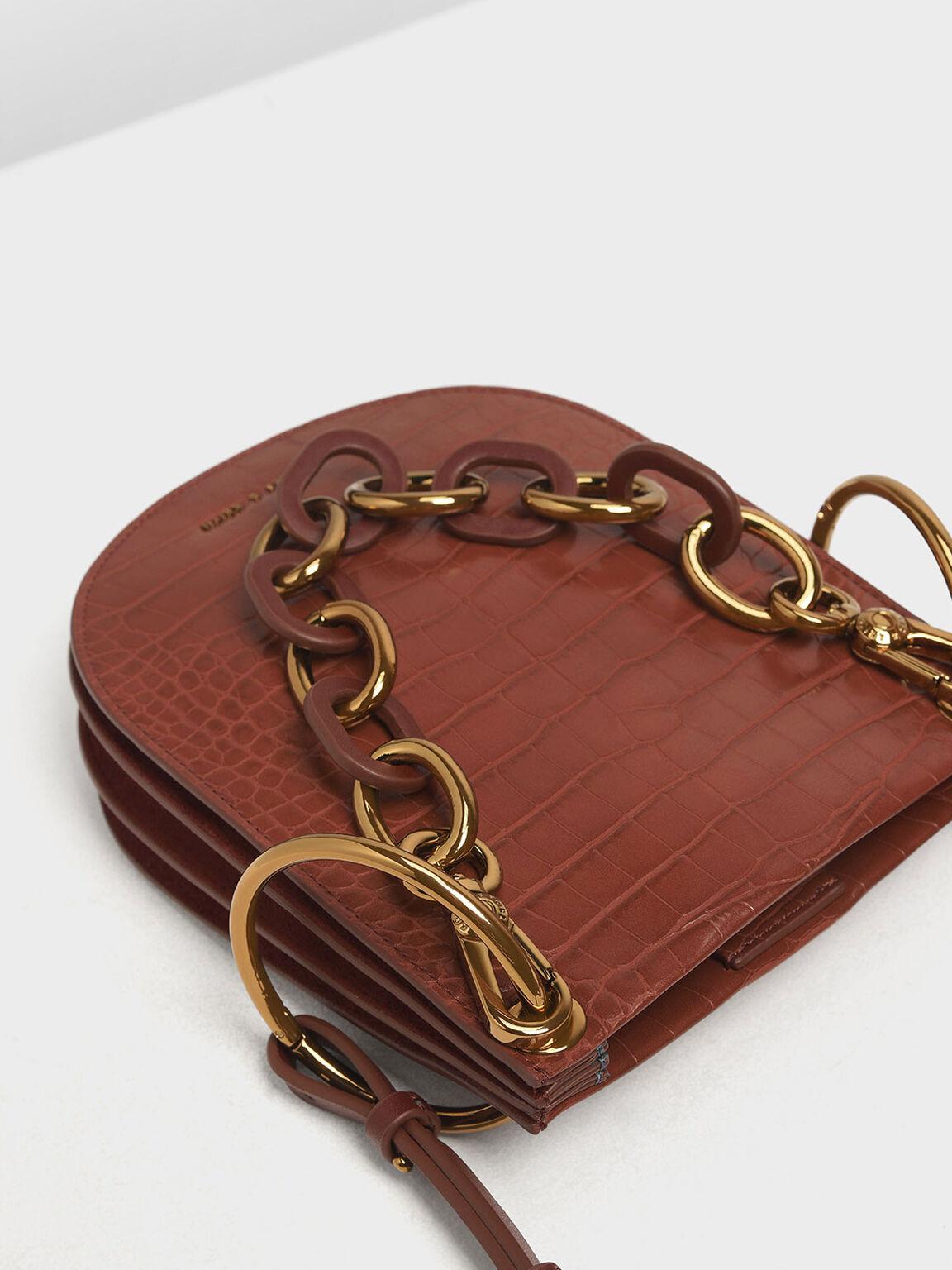 Croc-Effect Chunky Chain Handle U-Shaped Bag, Burgundy, hi-res