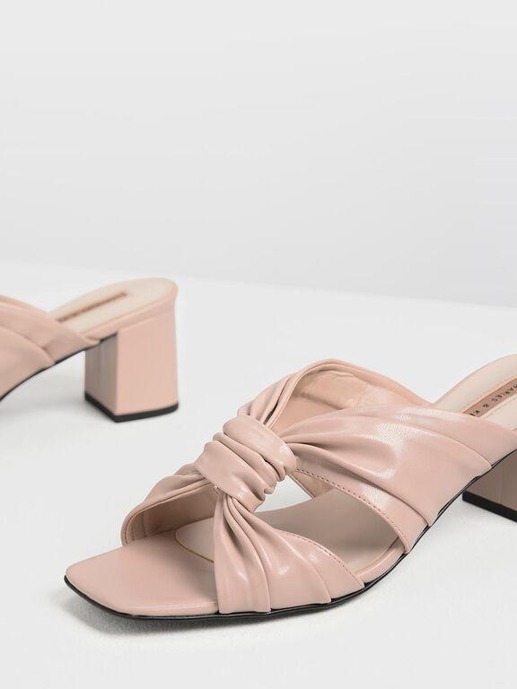 Ruched Block Heel Slide Sandals, Nude