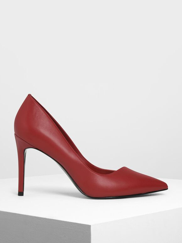 Asymmetrical Cut Stiletto Pumps, Red, hi-res