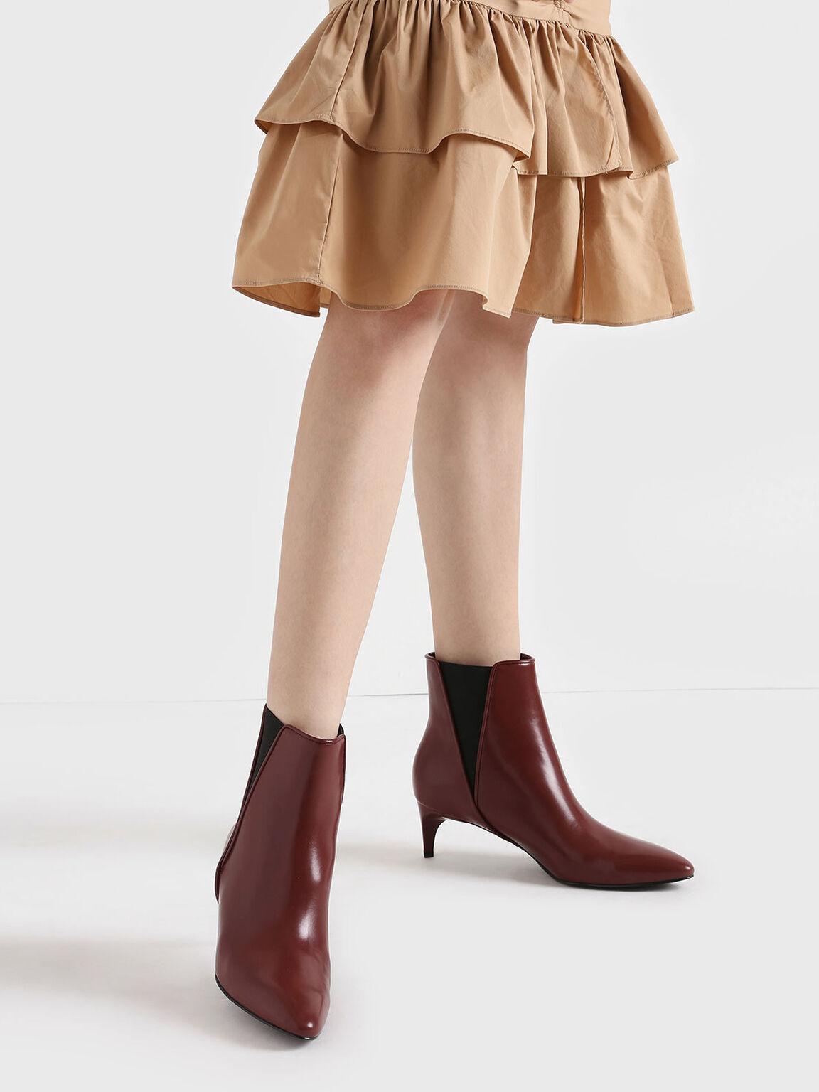 Kitten Heel Chelsea Boots, Red, hi-res