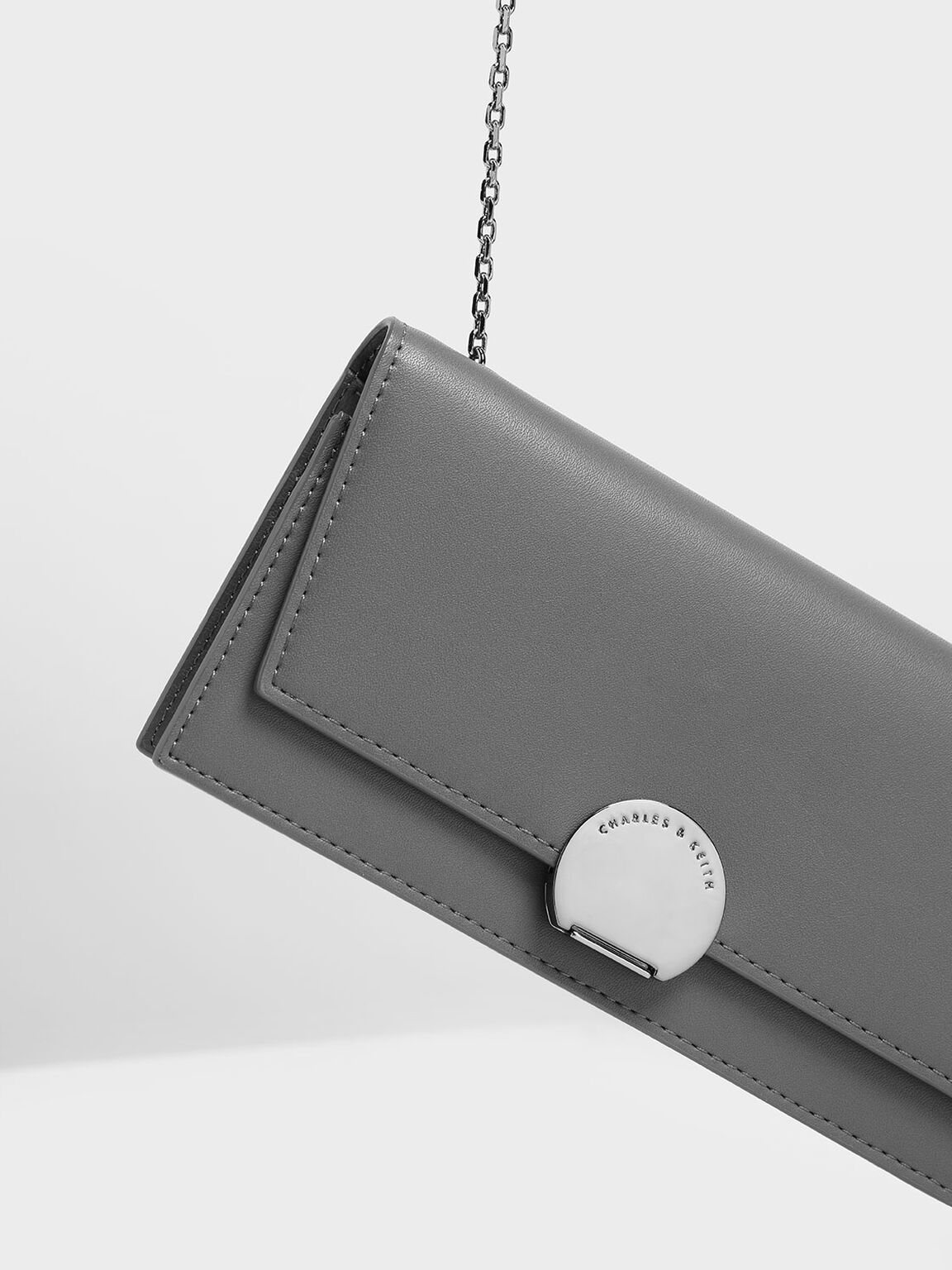 Circular Push Lock Long Wallet, Grey, hi-res