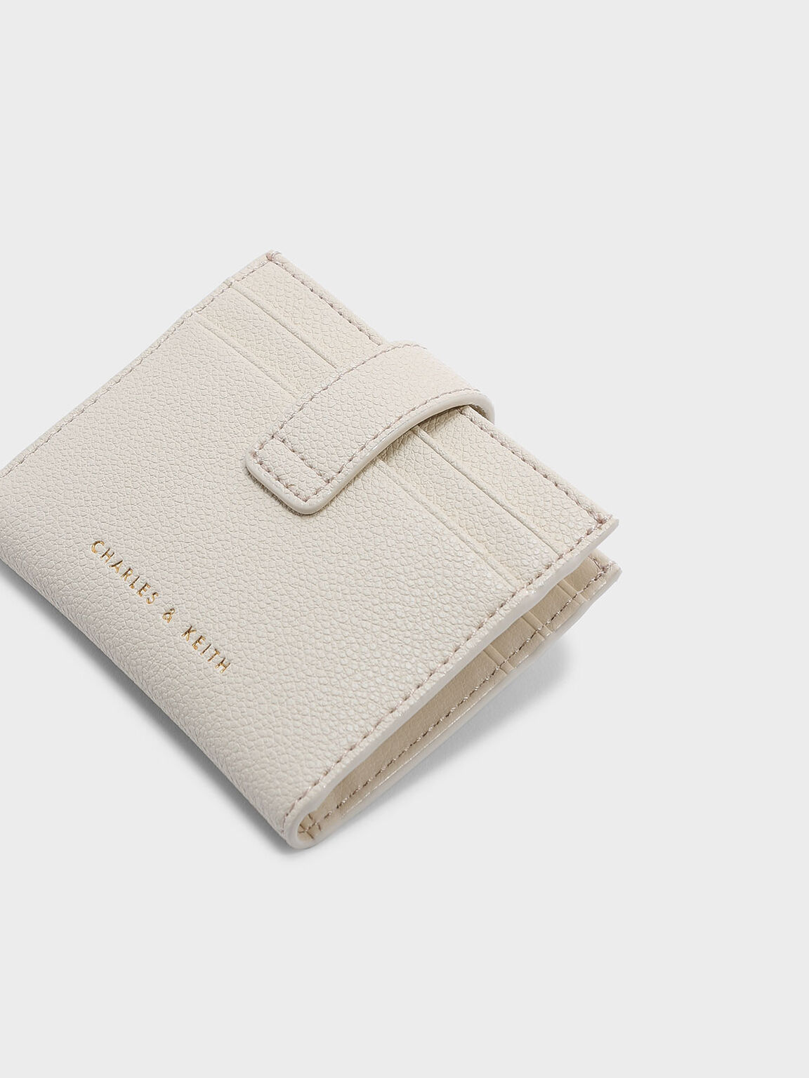 Snap Button Card Holder, Cream, hi-res