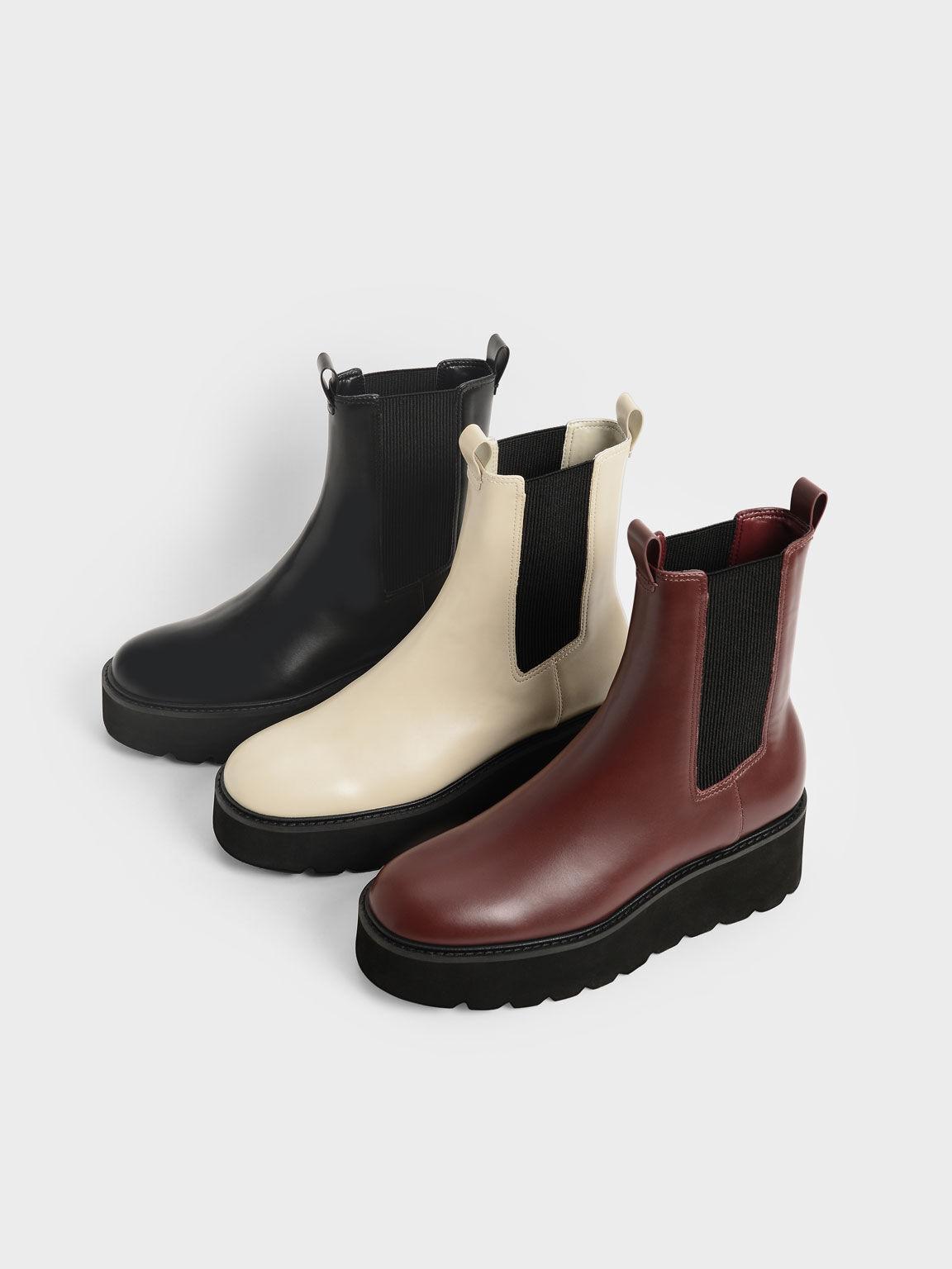 Platform Chelsea Boots, Burgundy, hi-res