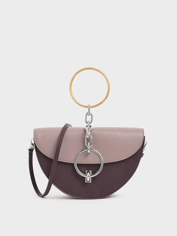 Half-Moon Bracelet Bag, Mauve, hi-res