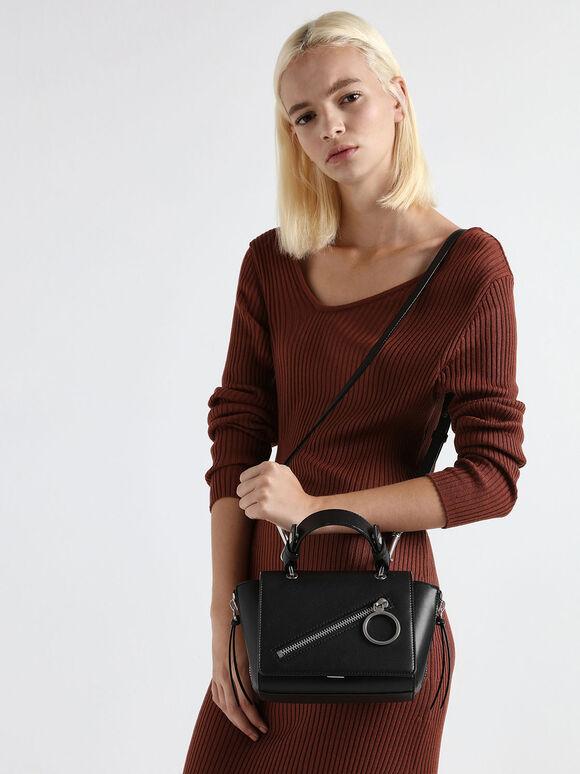 Ring Zip Pocket Trapeze Bag, Black, hi-res