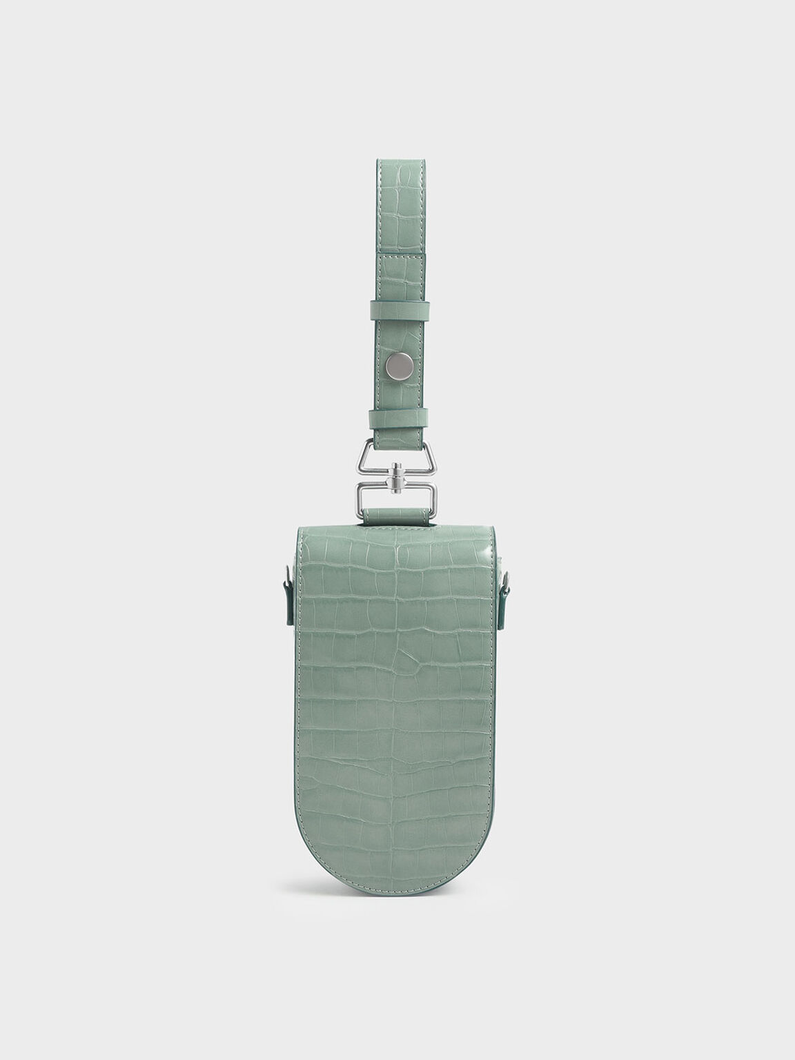 Croc-Effect Long Pouch, Sage Green, hi-res