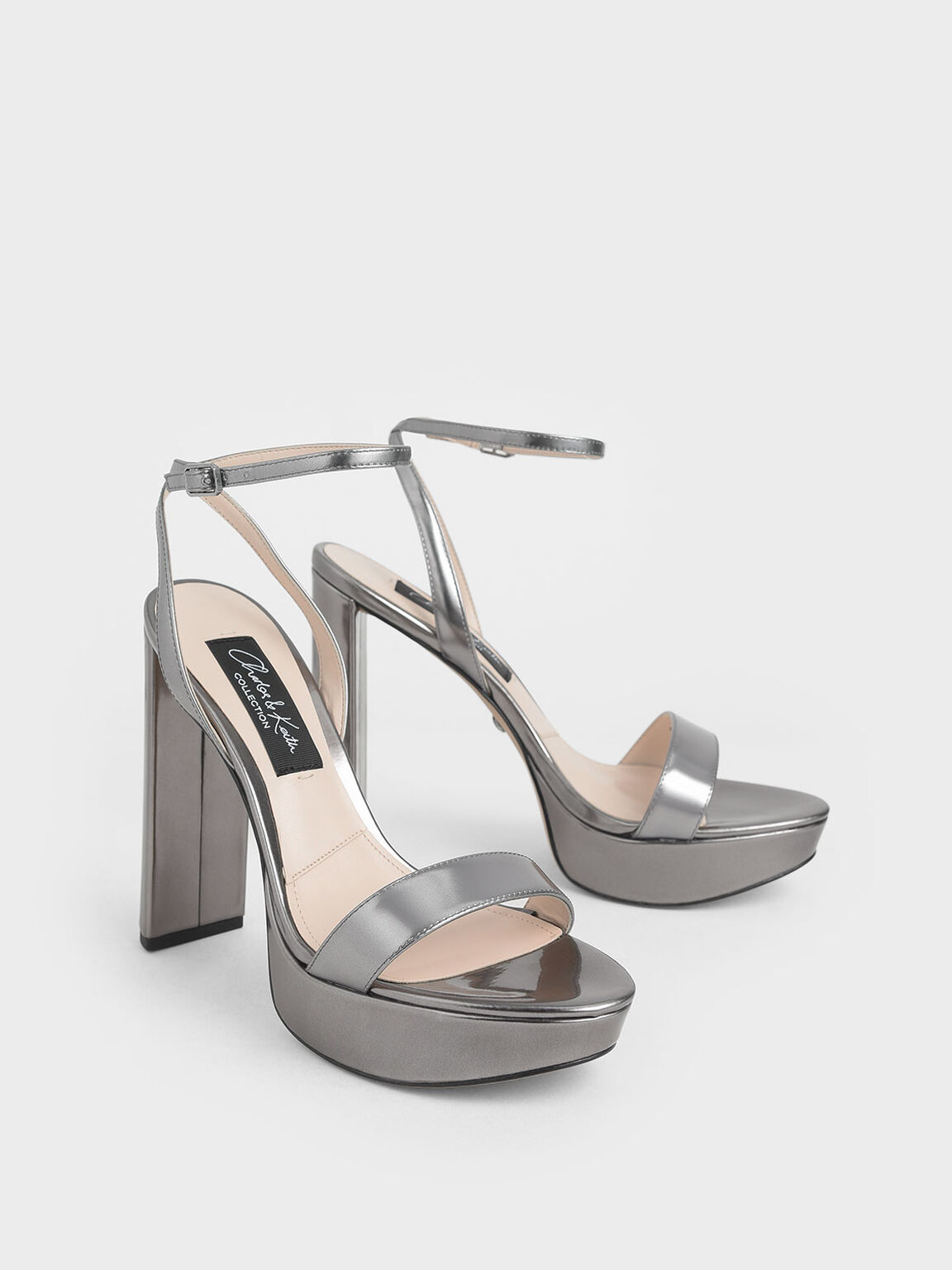 Mirror Metallic Leather Platform Heels, Silver, hi-res
