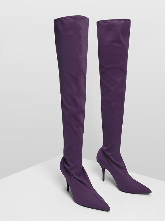 Pointed Thigh High Boots, Prune, hi-res