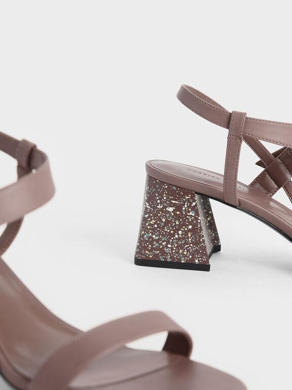 Terrazzo Print Flare Block Heel Sandals, Pink