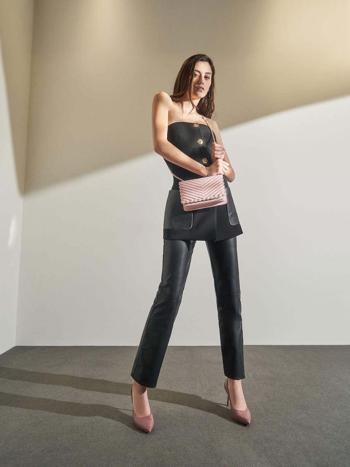 Beaded Handle Crossbody Bag, Pink, hi-res
