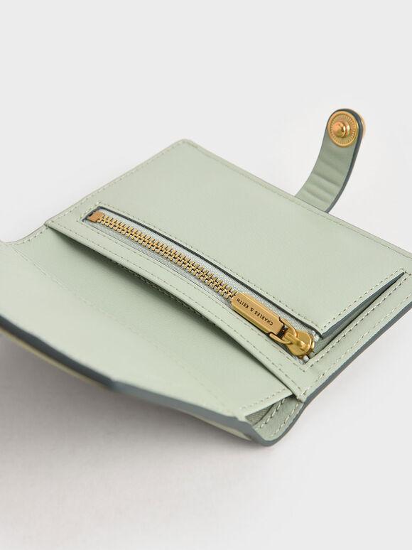 Mini Snap Button Wallet, Mint Green, hi-res