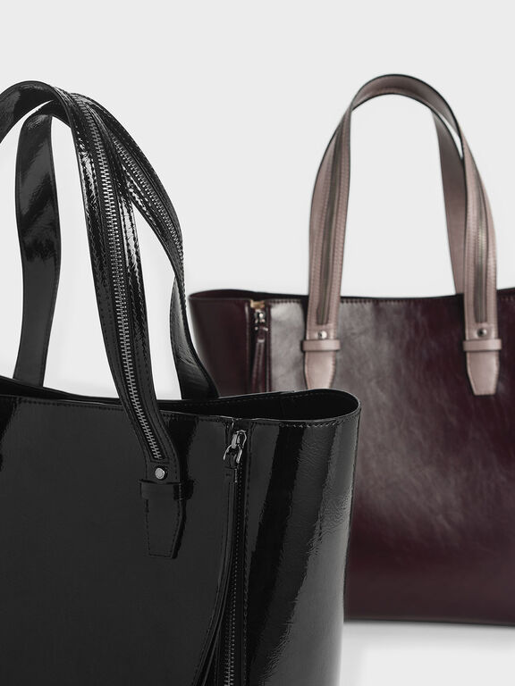 Wrinkled Patent Double Zip Long Handle Tote Bag, Black