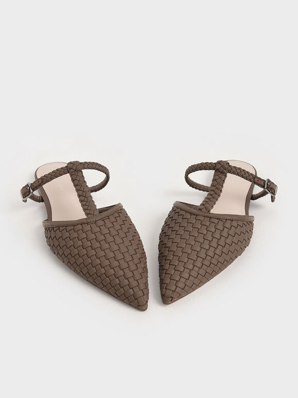 Woven T-Bar Flats, Brown, hi-res