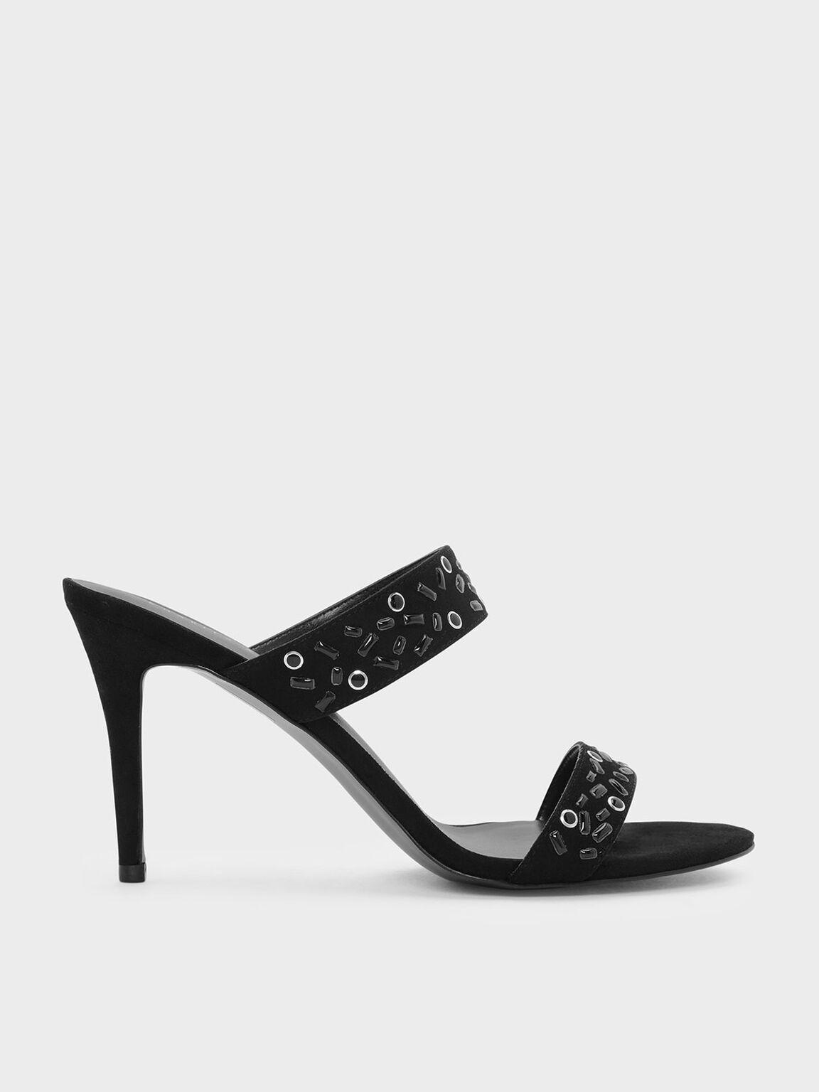 Embellished Double Strap Mules, Black, hi-res