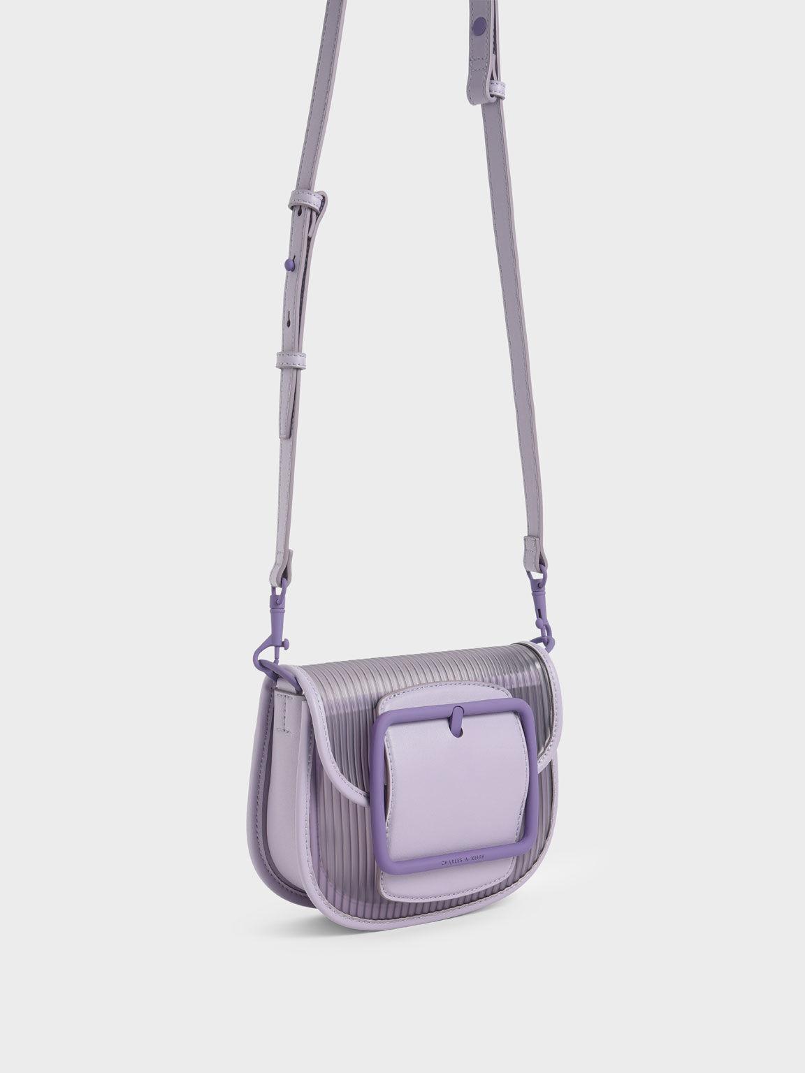 Acrylic Chain Handle Crossbody Bag, Lilac, hi-res