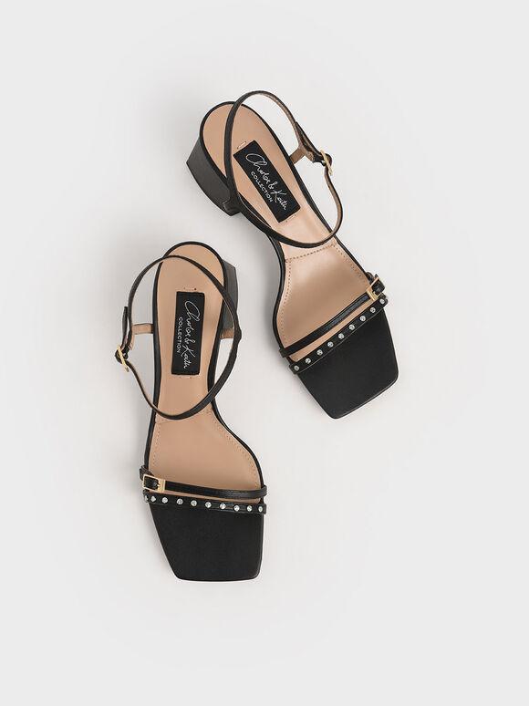 Studded Leather Heeled Sandals, Black, hi-res