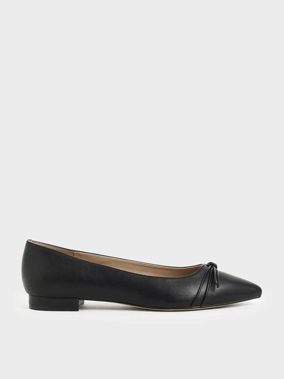 Ribbon Tie Ballerina Flats, Black, hi-res