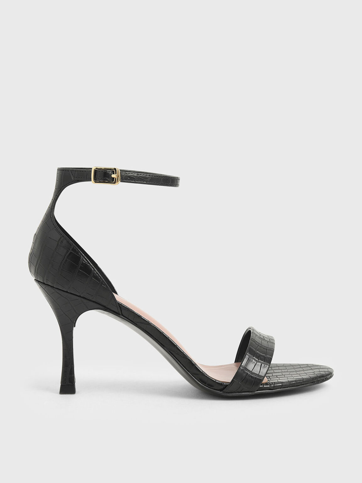 Croc-Effect Ankle Strap Heels, Black, hi-res