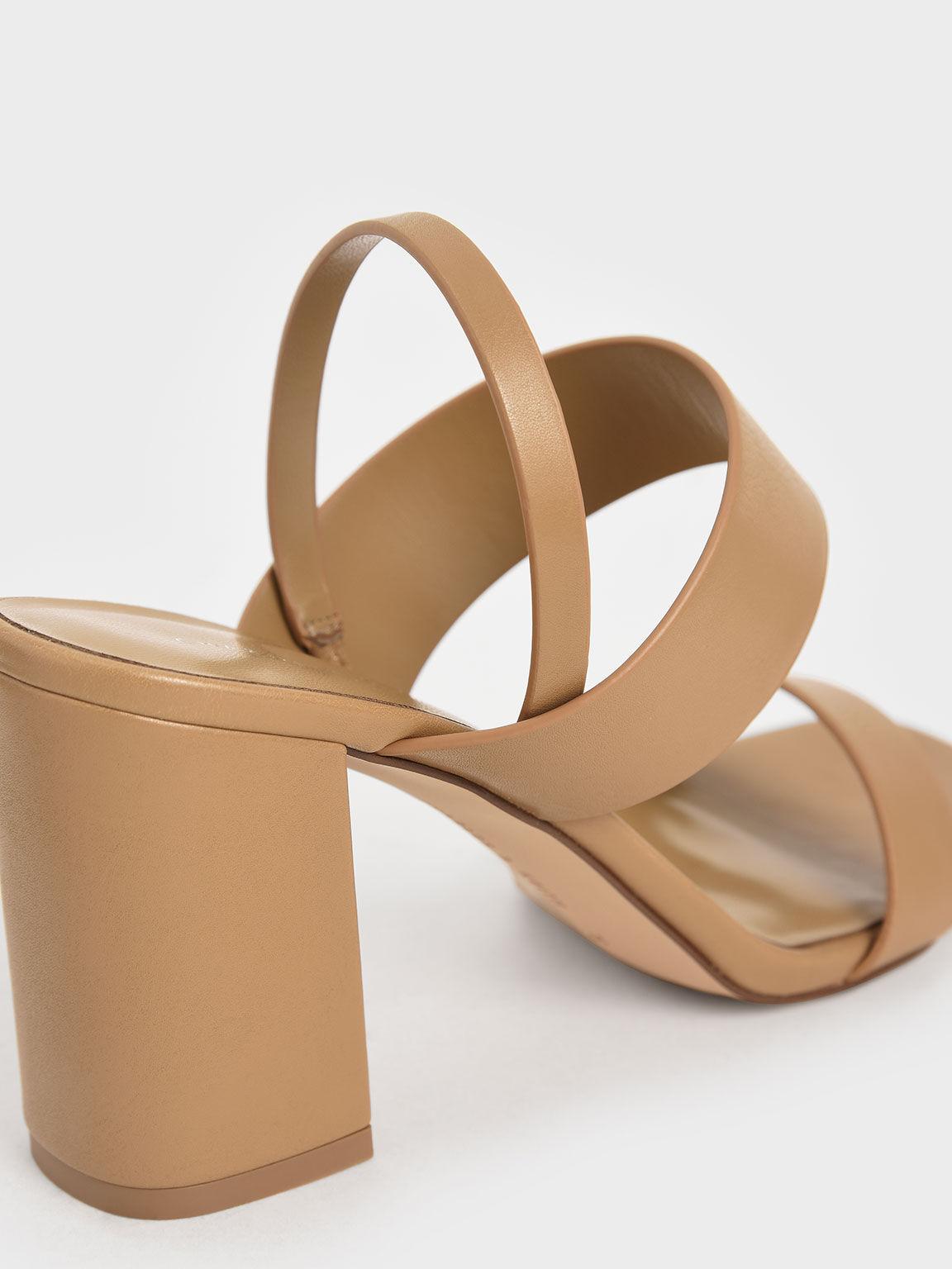 Back Strap Block Heel Sandals, Camel, hi-res