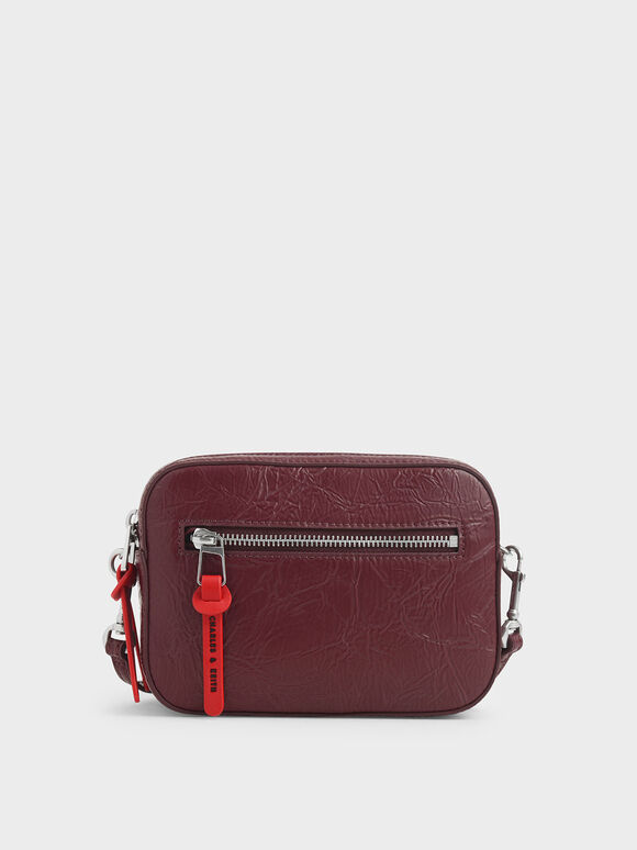 Wrinkled Effect Rectangle Crossbody Bag, Burgundy, hi-res