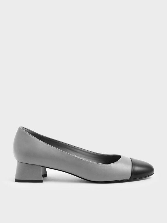 Two-Tone Round Toe Curved Block Heel Pumps, Grey, hi-res