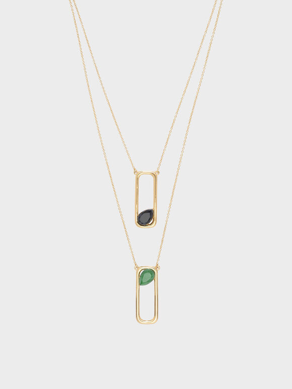 Green Agate Layered Necklace, Gold, hi-res