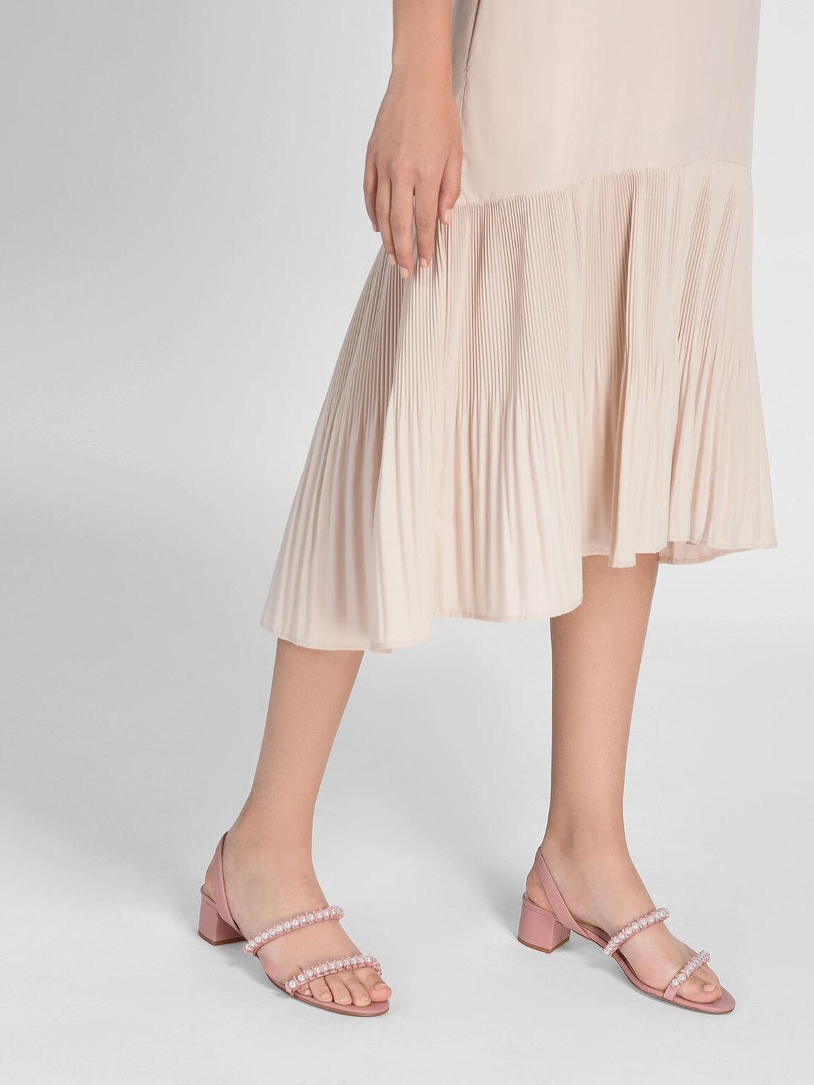 Pearl Embellished Slingback Sandals, Pink, hi-res