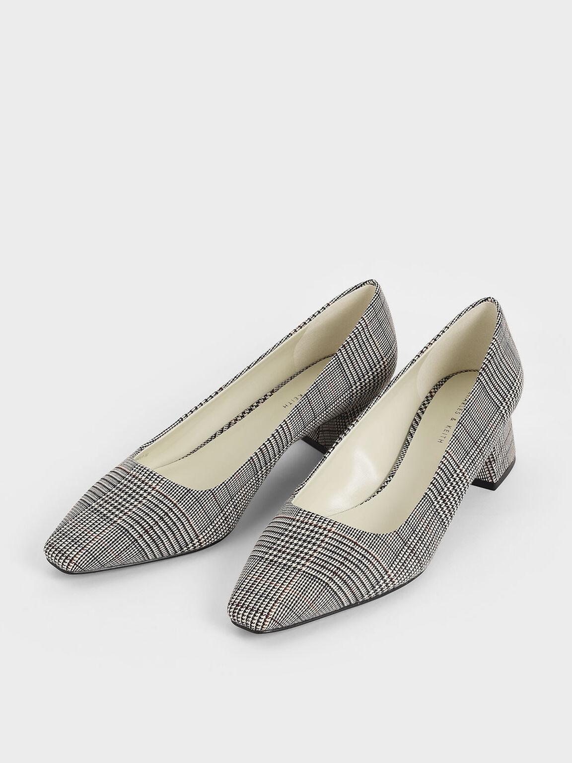 微方頭粗跟鞋, 淺灰色, hi-res