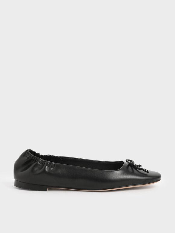 Bow Ballerina Flats, Black, hi-res