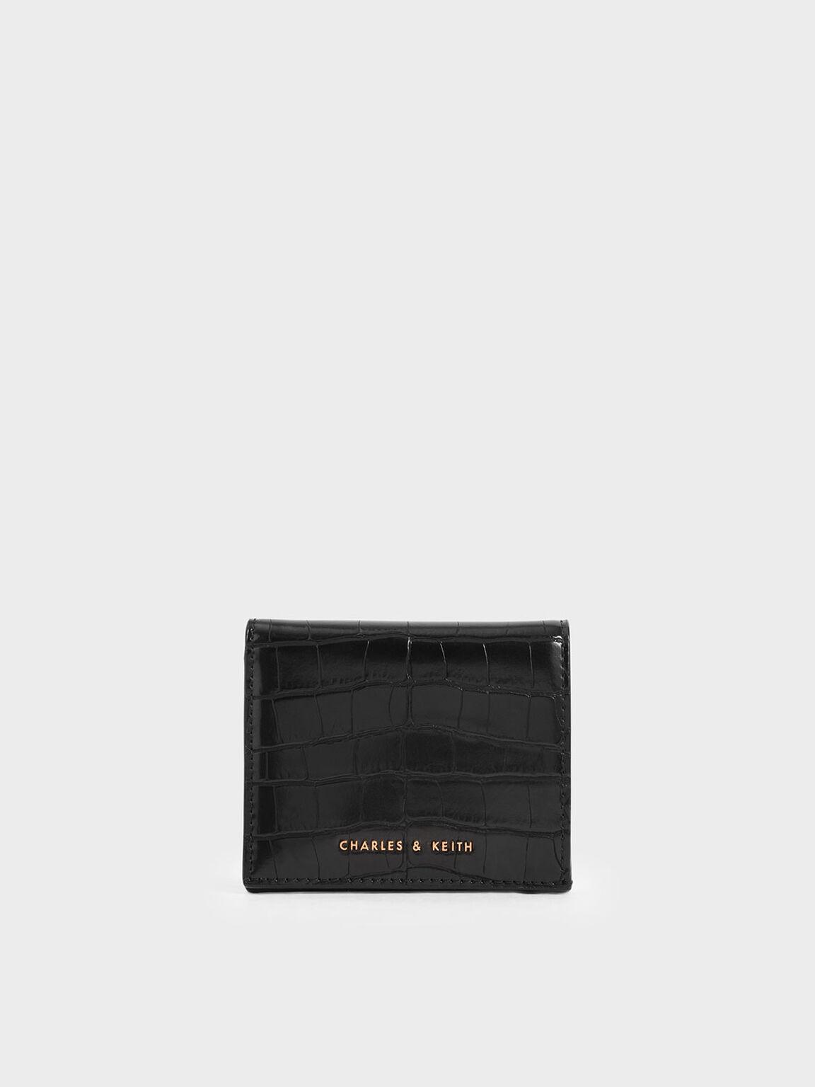Croc-Effect Small Wallet, Black, hi-res
