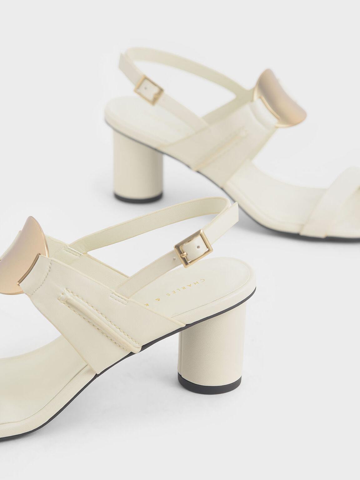 Metallic Accent Heeled Sandals, Chalk, hi-res