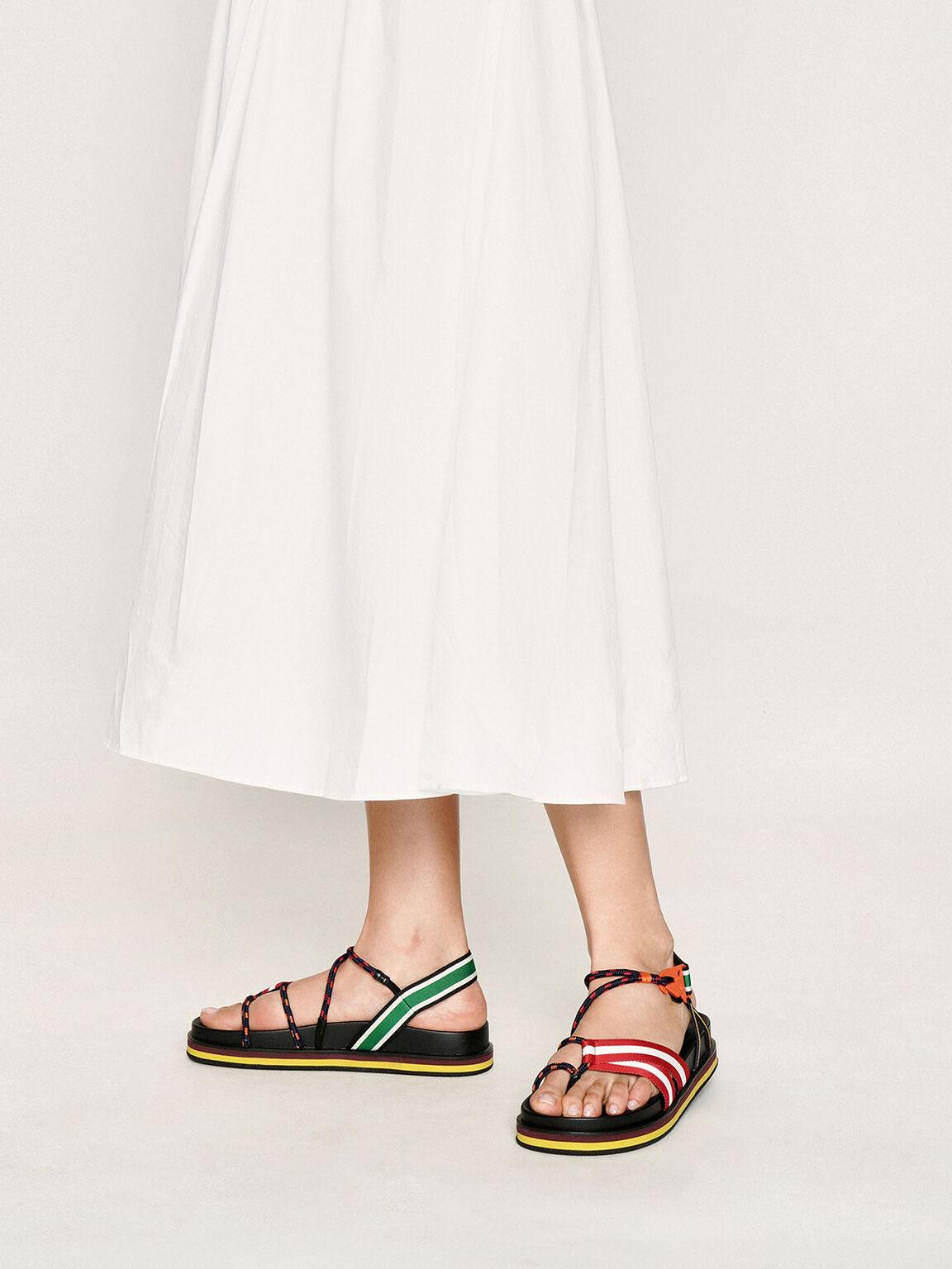 Multicoloured Grosgrain & Rope Flatform Sandals, Multi, hi-res