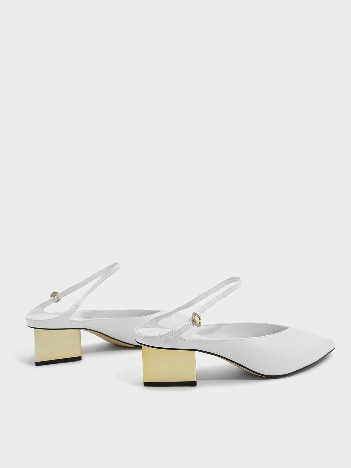 Metallic Heel Mules, White, hi-res