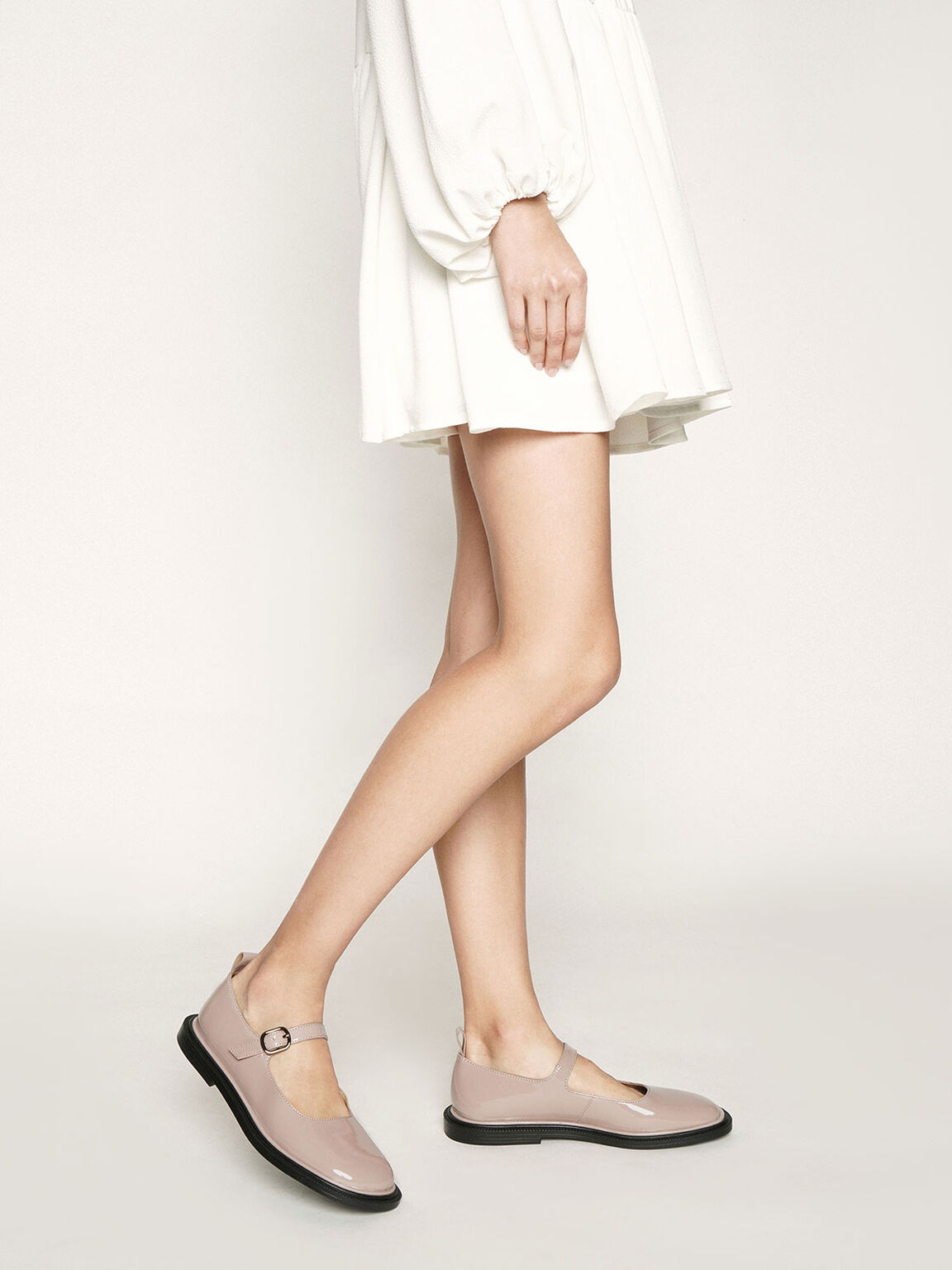 Patent Mary Jane Flats, Nude, hi-res