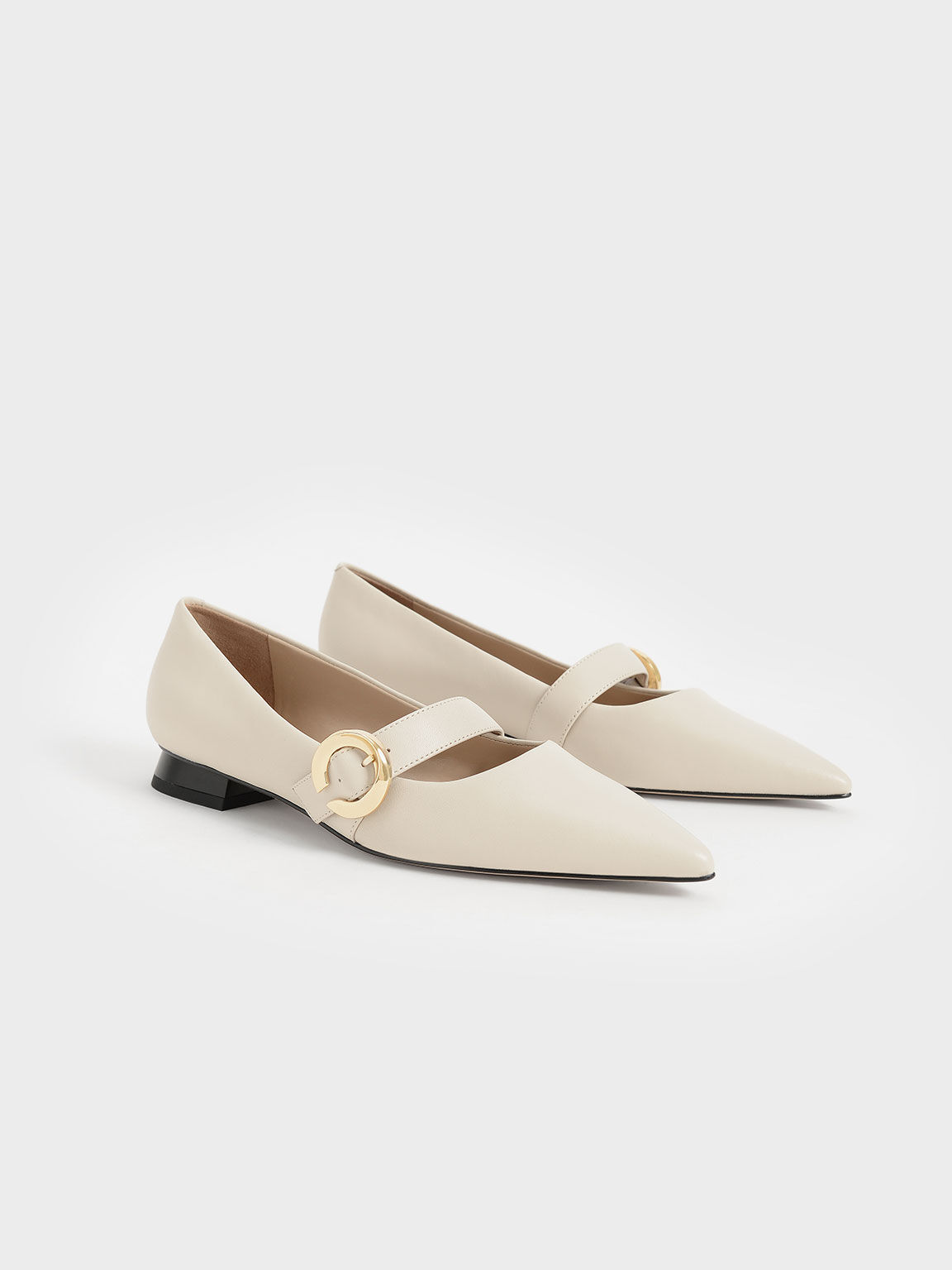 Metallic Buckle Leather Mary Janes, Chalk, hi-res