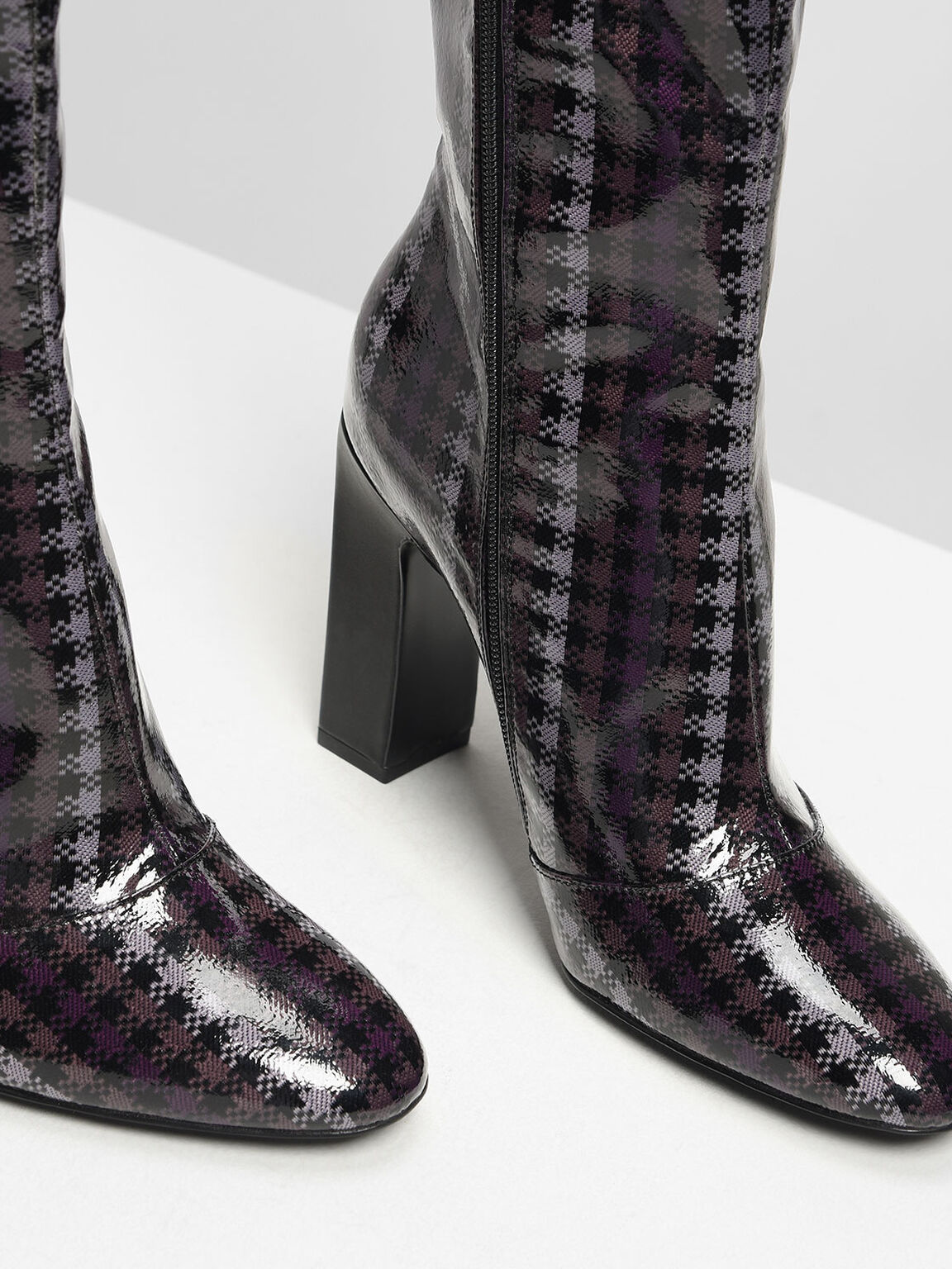 亮面千鳥紋長靴, 紫色, hi-res