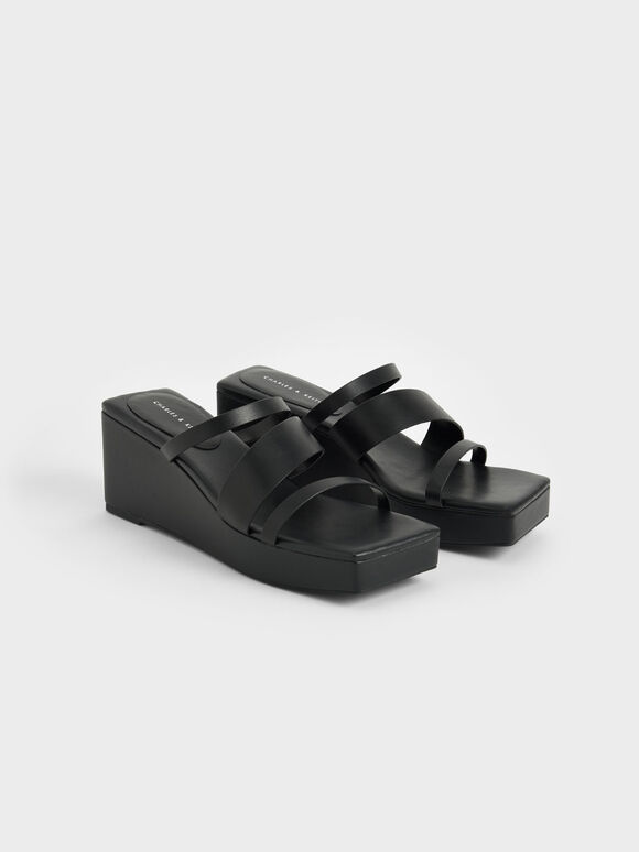Asymmetric Platform Wedges, Black, hi-res