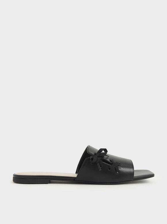 綁帶方頭拖鞋, 黑色, hi-res