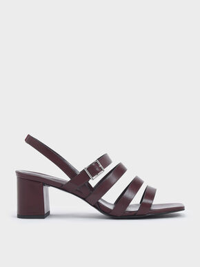 Strappy Block Heel Slingback Sandals, Prune, hi-res