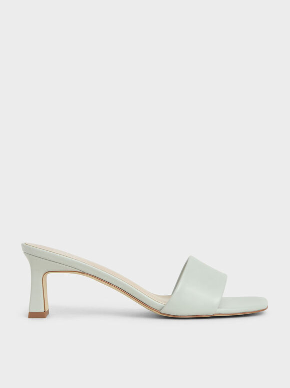 Open Square Toe Mules, Light Grey, hi-res