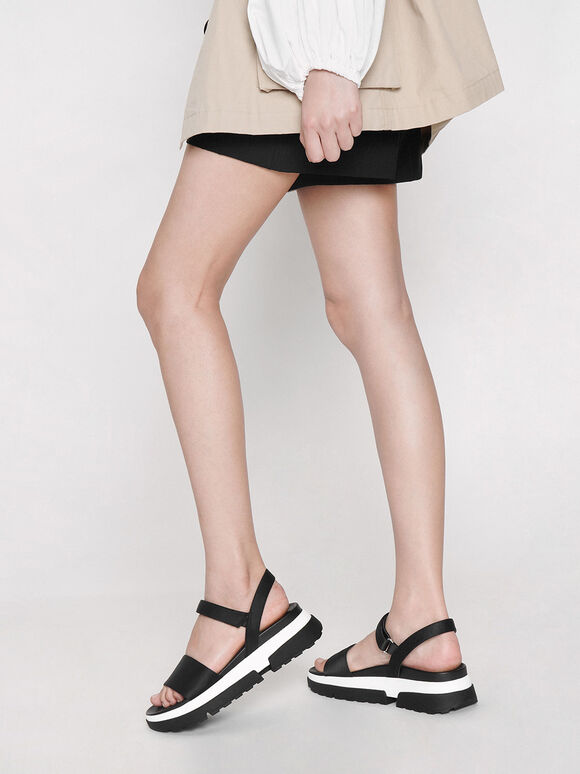 Satin Chunky Sole Sandals, Black, hi-res